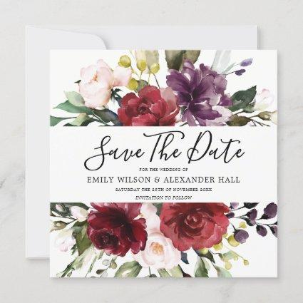 Burgundy Red Floral Watercolor Wedding Save The Date