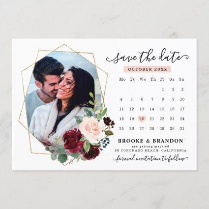 Burgundy Red Navy Blush Floral Photo Save the Date Invitation
