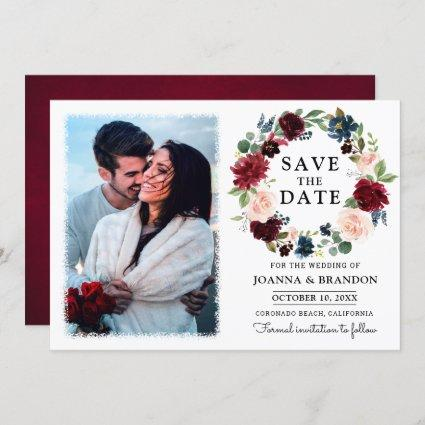 Burgundy Red Navy Blush Floral Save the Date Invitation