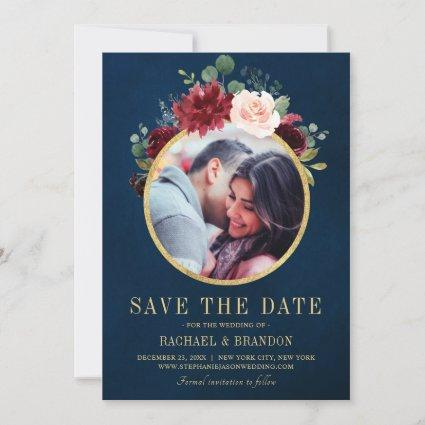 Burgundy Red Navy Floral Rustic Boho Photo Save The Date