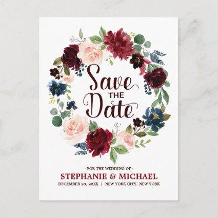 Burgundy Red Navy Floral Rustic Boho Save the Date Announcement