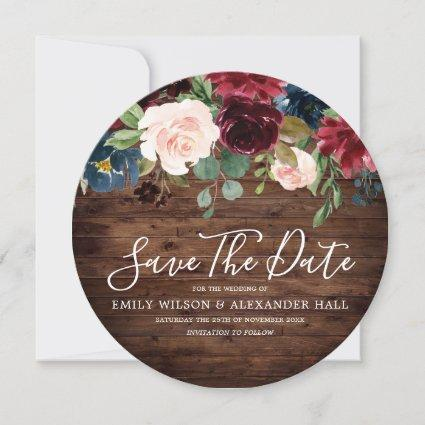 Burgundy Red Wine Rustic Wood Wedding Save The Date