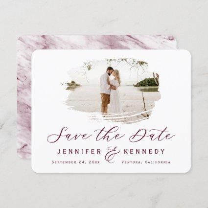 Burgundy Romantic Brushed Frame with Photo Save The Date