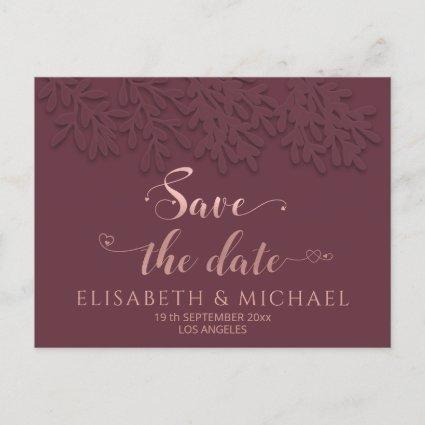 Burgundy Rose gold embossed botanical calligraphy Announcement