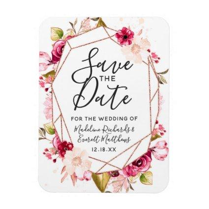 Burgundy Rose Gold Geometric Save the Date Wedding Magnet