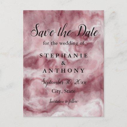 Burgundy, Rose Gold Marble Wedding Save the Date Invitation