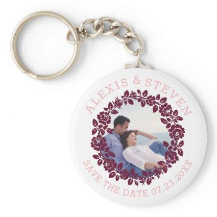 Burgundy roses floral Save the Date photo Keychain