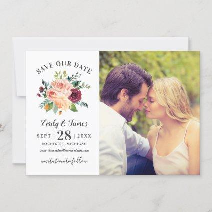Burgundy Rustic Romance | Floral Wedding Photo Save The Date