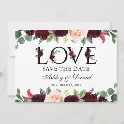 Burgundy Watercolor Floral Love Save The Date