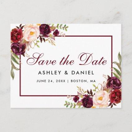 Burgundy Watercolor Floral Save the Date Announcements Cards