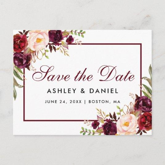 Burgundy Watercolor Floral Save the Date Announcement