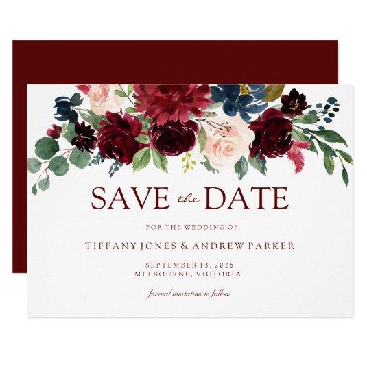 Burgundy Watercolor Floral Save the date Invitation