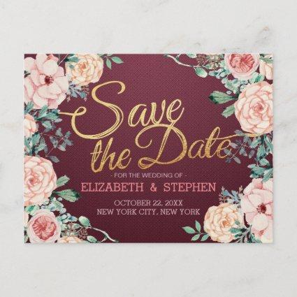 Burgundy Watercolor Floral Wedding Save the Date Announcement