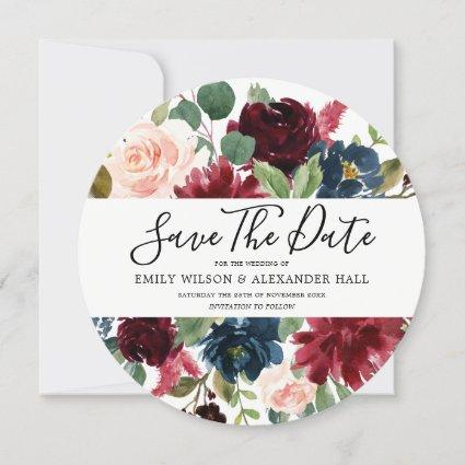 Burgundy Watercolor Flowers Modern Wedding Save The Date