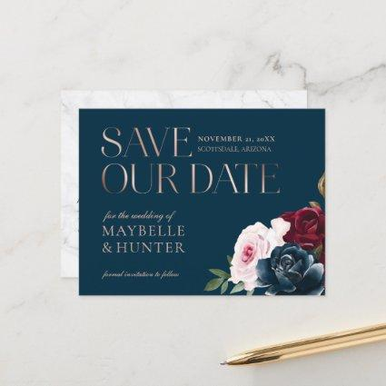 Burgundy Watercolor Rose Gold Save Our Date Navy Announcement
