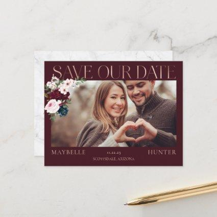 Burgundy Watercolor Rose Gold Save Our Date Photo Announcement