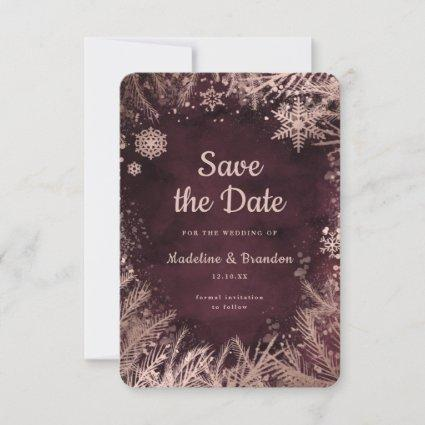Burgundy Watercolor with Rose Gold Winter Wedding Save The Date