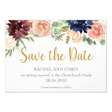 Burgundy Watercolour Fall Wedding Save The Date Invitation