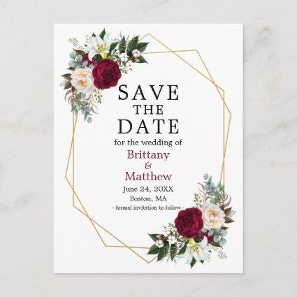 Burgundy White Floral Save The Date Geo Frame