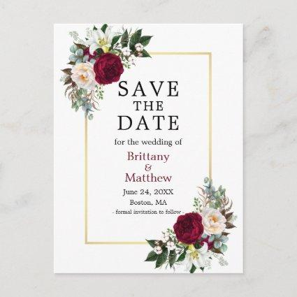 Burgundy White Floral Save The Date Gold Frame