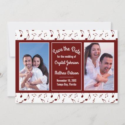 Burgundy White Music Notes Photo Save the Date