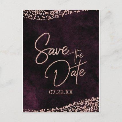 Burgundy Wine & Rose Gold Wedding Save the Date Announcements Cards