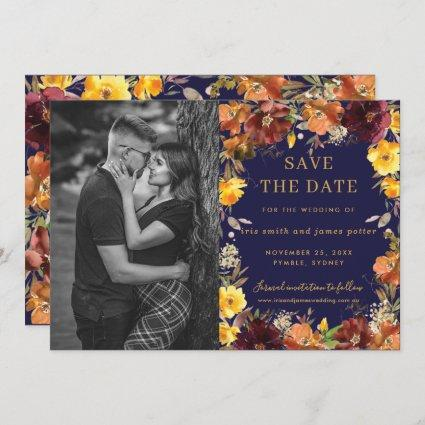 Burgundy Yellow Floral Photo Save the Date Card