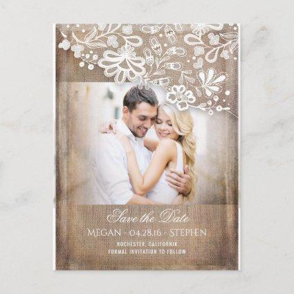 Burlap and Lace Rustic Photo Save The Date Announcement