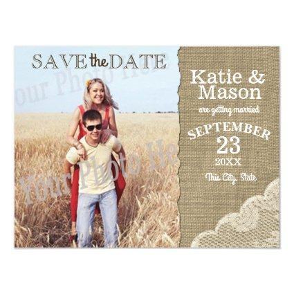 Burlap and Lace Rustic Photo Save the Date Magnetic Invitation