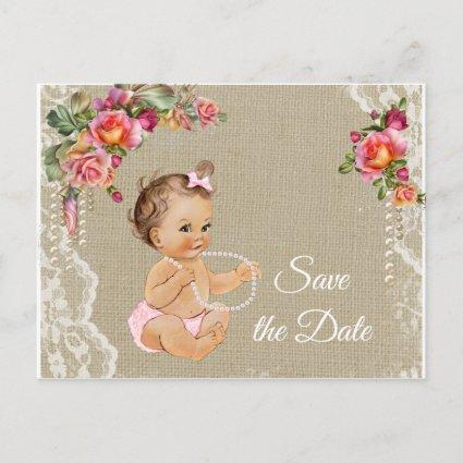 Burlap Lace Baby Shower Save the Date Announcement