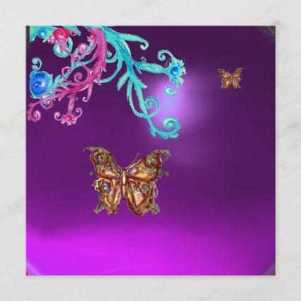 BUTTERFLY  AMETHYST , purple blue bright pink red Invitation