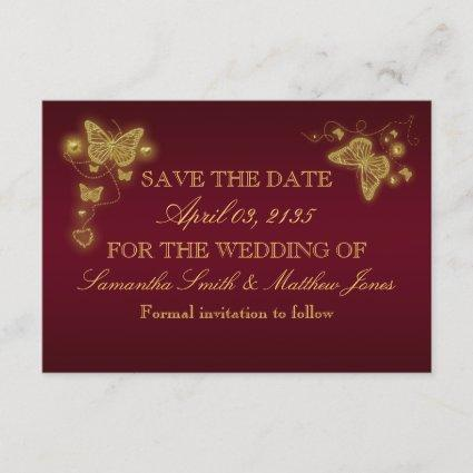 Butterfly burgundy gold wedding response save the date