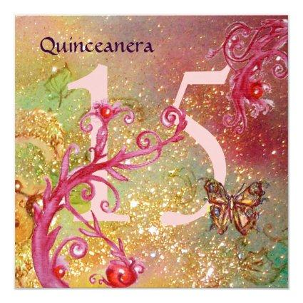 BUTTERFLY IN GOLD SPARKLES Quinceanera Birthday Invitation