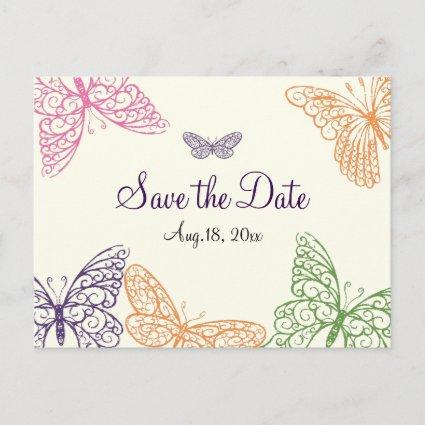 Butterfly Kisses Save the Date ivory Announcement
