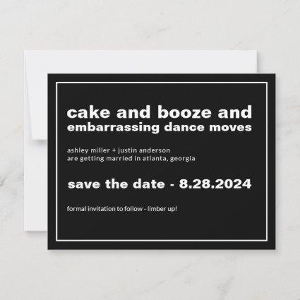 Cake and Booze Funny Save the Date with Photo