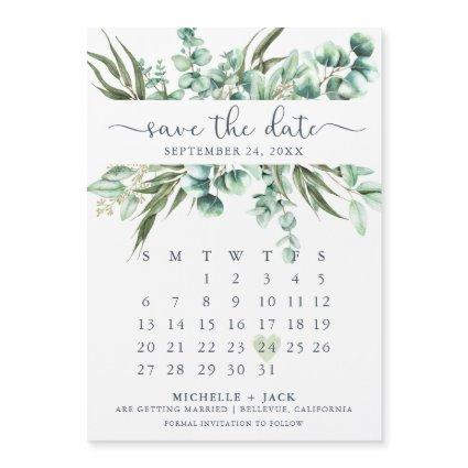 Calendar Eucalyptus Simple Save The Date Magnet