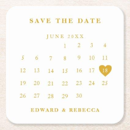 Calendar Simple Gold and White Save the Date Square Paper Coaster