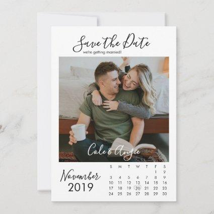 Calendar Style Save The Date with Picture