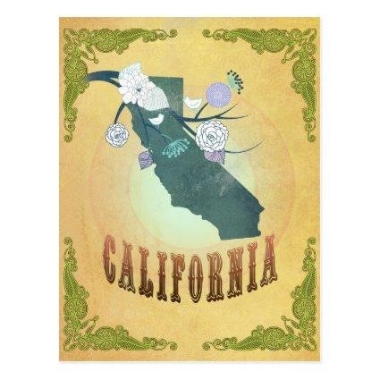 California Map With Lovely Birds Cards
