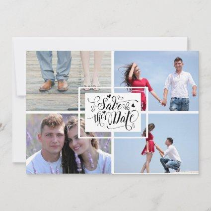 Calligraphic 4 Photo Collage Save The Date Card