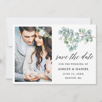 Calligraphy Botanical Eucalyptus Leaves Save The Date