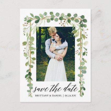 Calligraphy Botanical Gold Save The Date Photo Announcement
