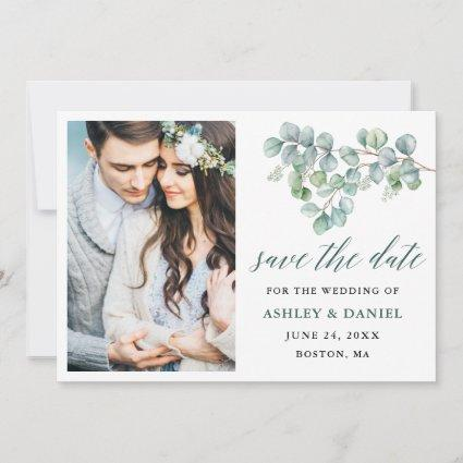 Calligraphy Botanical Green Eucalyptus Leaves Save The Date