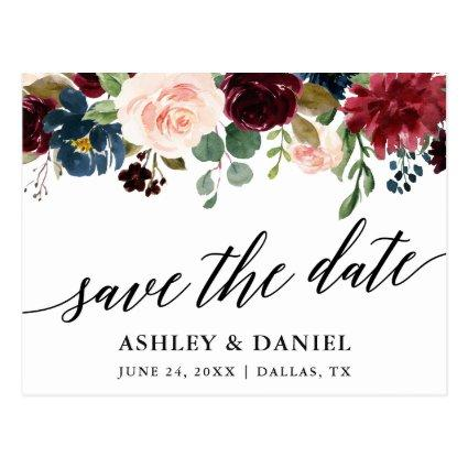 Calligraphy Burgundy Blue Floral Save The Date Cards