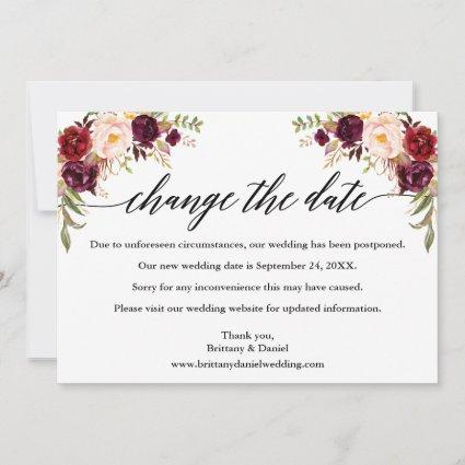 Calligraphy Burgundy Floral New Wedding Date Card