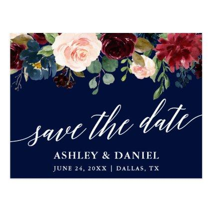 Calligraphy Burgundy Floral Save The Date Blue