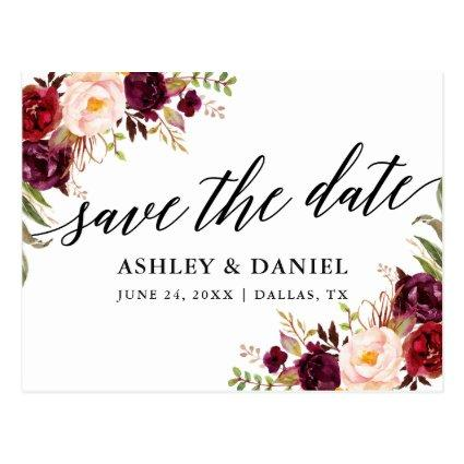 Calligraphy Burgundy Floral Save The Date Cards