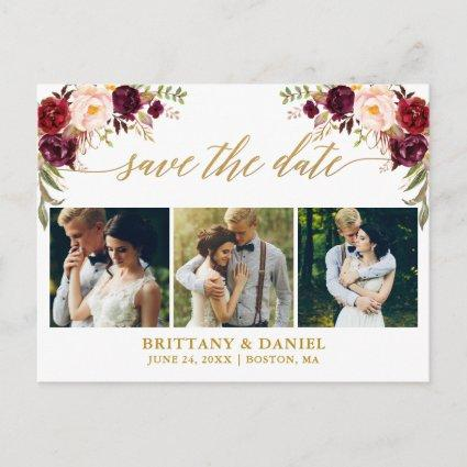 Calligraphy Burgundy Save The Date 3 Photo Gold Announcement