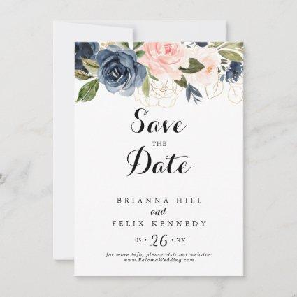 Calligraphy Elegant Winter Floral Wedding Save The Date