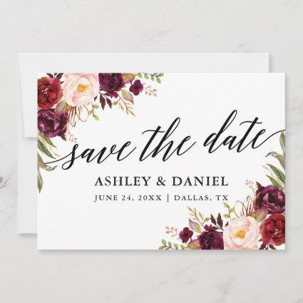 Calligraphy Floral Burgundy Save The Date Card